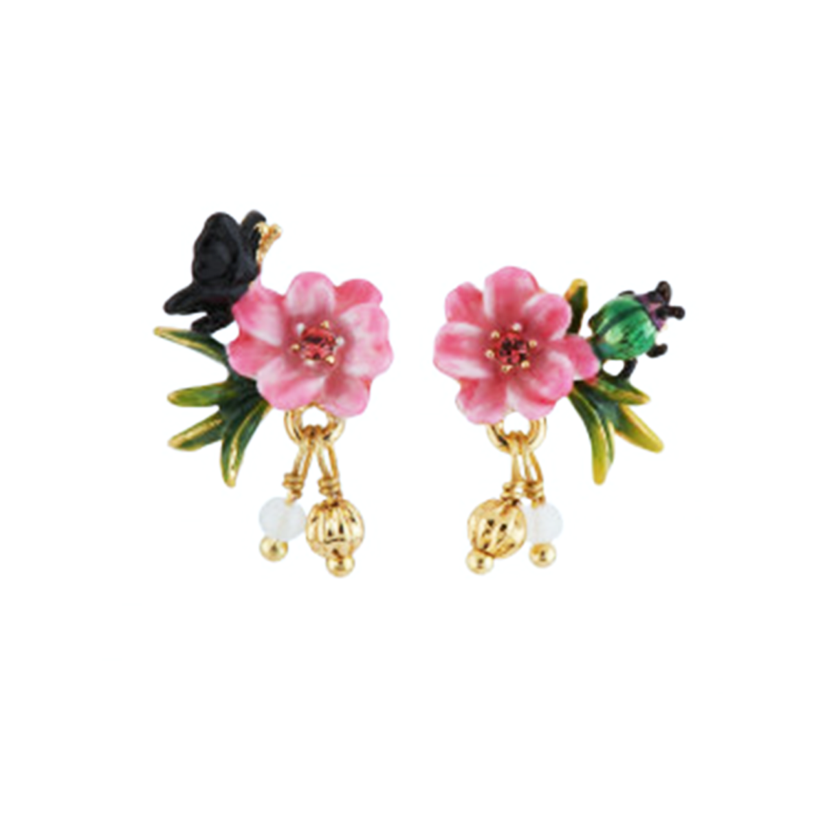 Flower Dangling Earrings with Rhinestones and Pearls