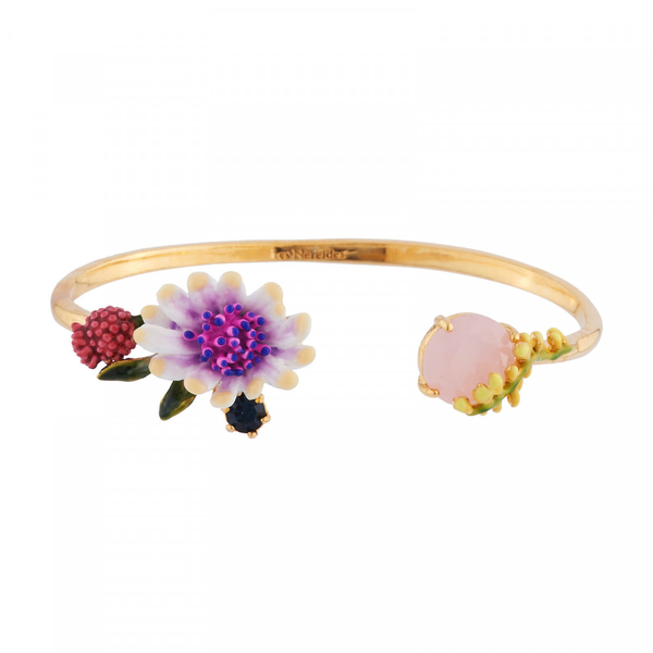 White Flower with Pink and Blue Pistil and Faceted Crystal Bangle