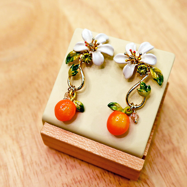 Orange and Orange Blossom Baroque Style Stud Earrings