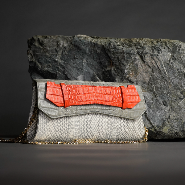 Antique White Snake Skin & Dove Gray, Orange Crocodile Skin Texturas Long Clutch