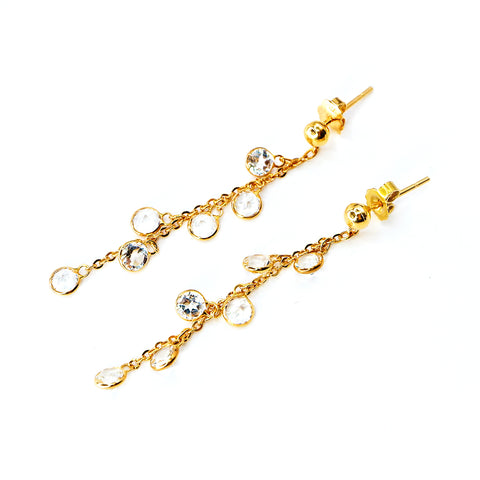 Dangling Earrings with White Topaz