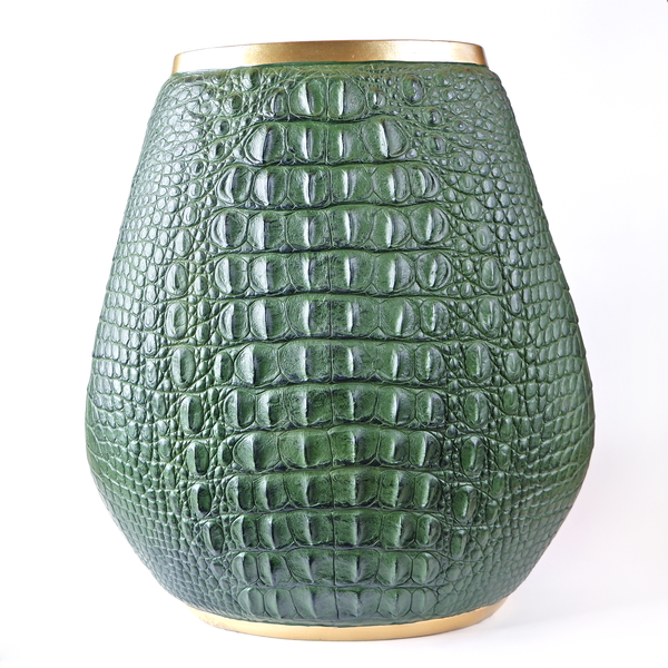 Faux Crocodile Skin Vase/Box