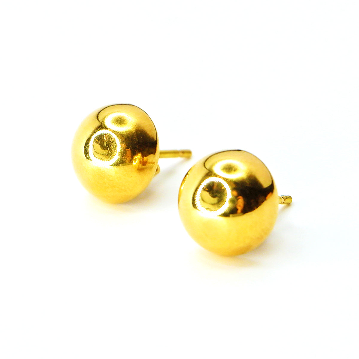 Half Ball Studs in 18K Yellow Gold