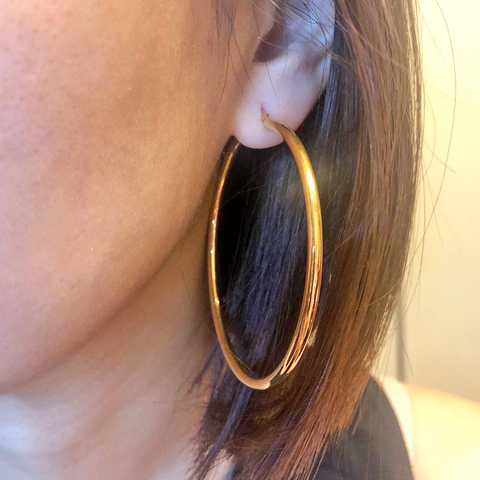 Italian Hoop Earring in 18K Yellow Gold