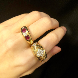 Ruby Ring with Diamonds in 18K Yellow Gold