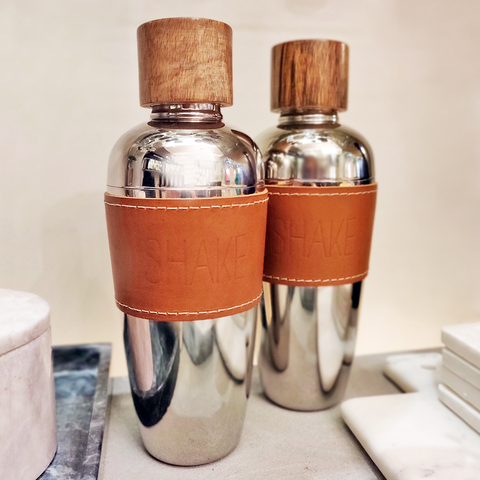 Stainless and Wood Cocktail Shaker