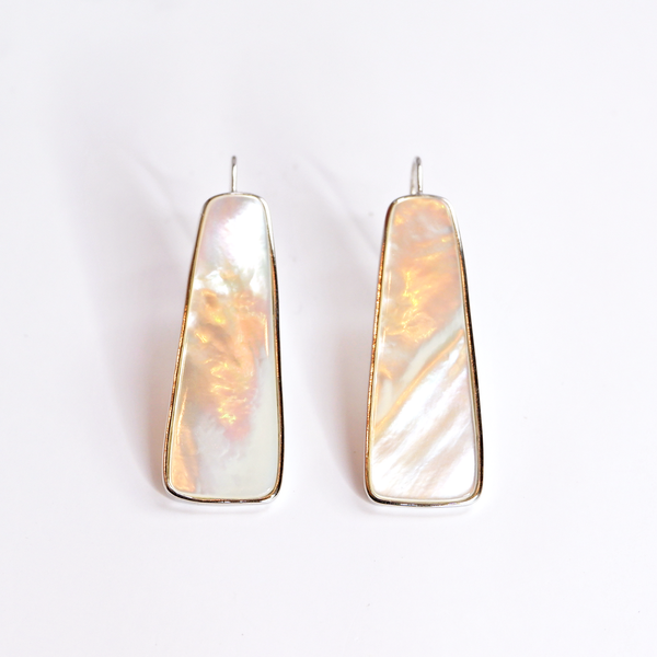 White Mother of Pearl Column Earrings