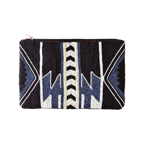 Black, Blue and White Beaded Clutch