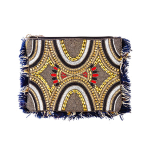 Black, Gold, White and Blue Beaded Clutch