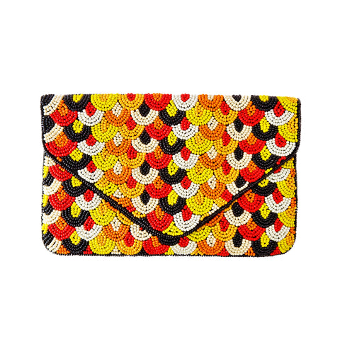 Black, Orange and Yellow Beaded Clutch