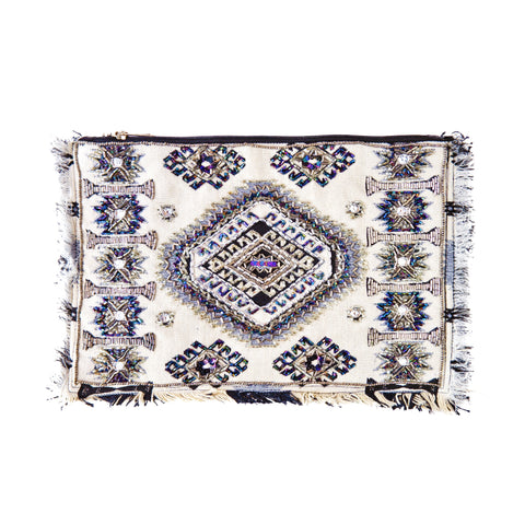 White, Blue and Gold Geometric Beaded Clutch