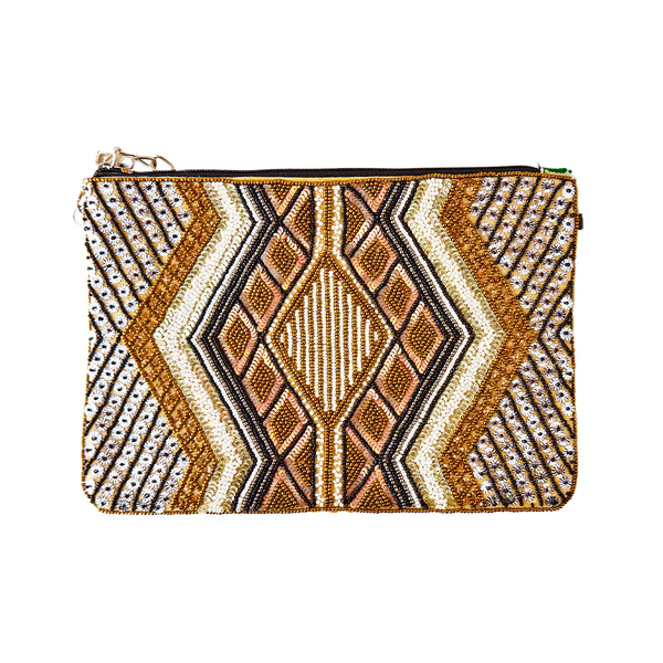 Golden Beaded Clutch