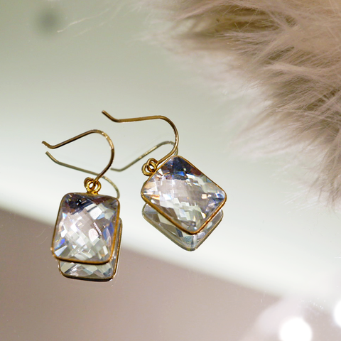 24K Gold Plating Earrings with Clear Quartz
