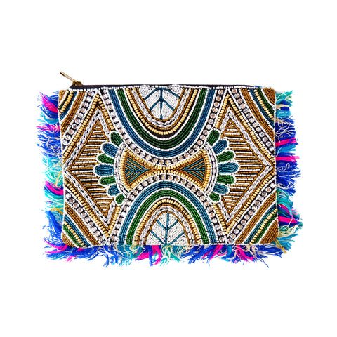 Multicolored Fringe Beaded Clutch