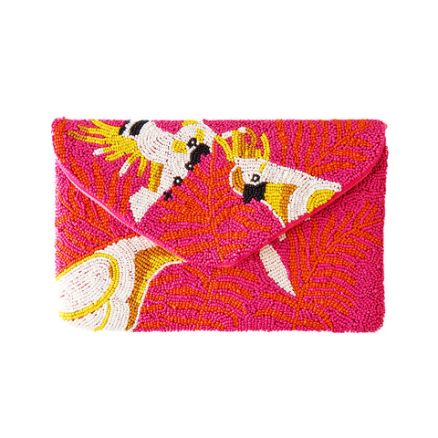 Pink Parrot Beaded Clutch