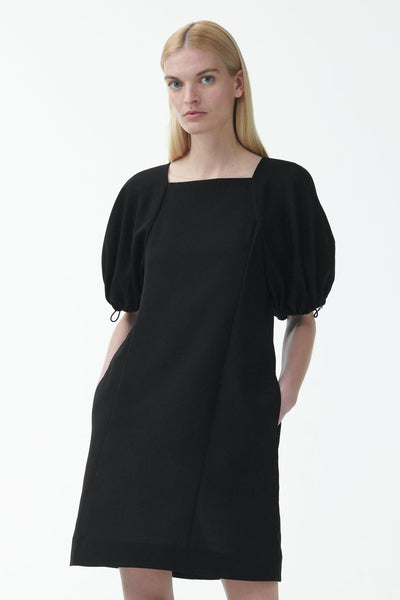 A-LINE DRAWCORD PUFF SLEEVE DRESS