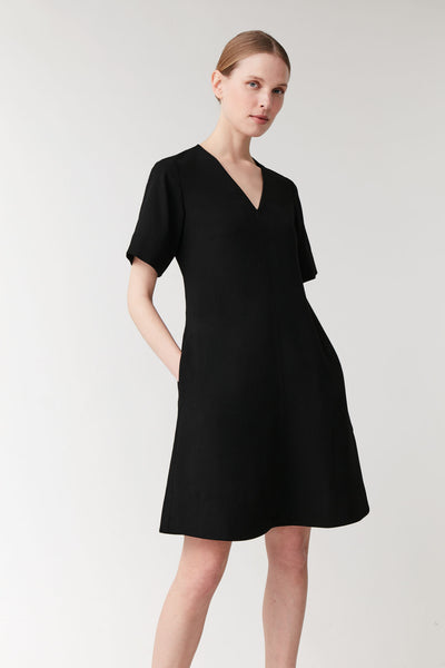 V-NECK DRESS WITH SHORT SLEEVES