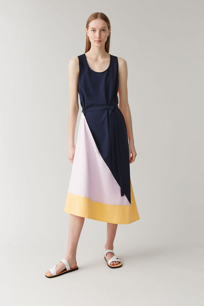 SLEEVELESS COLOUR-BLOCK DRESS