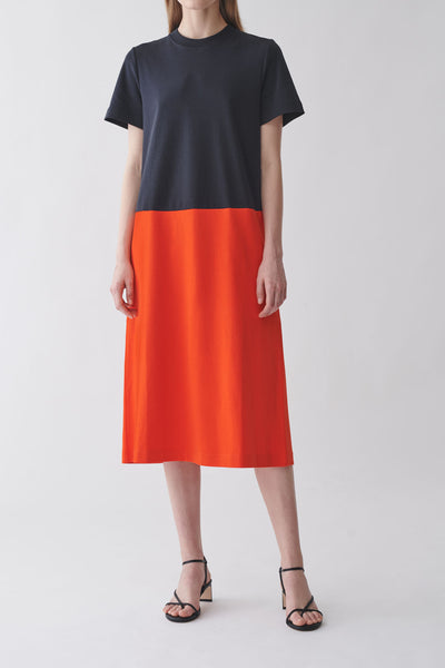 COLOR-BLOCK COTTON DRESS