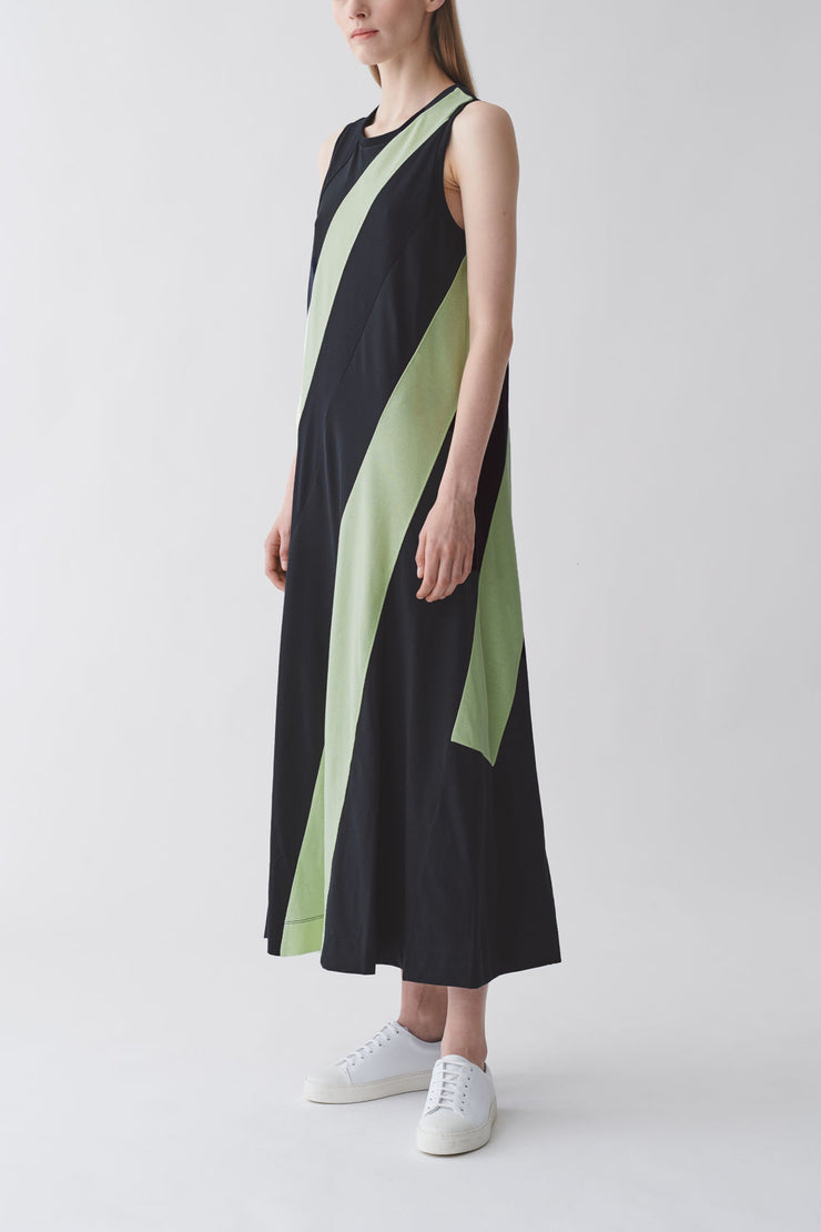 ORGANIC COTTON STRIPED PANEL DRESS
