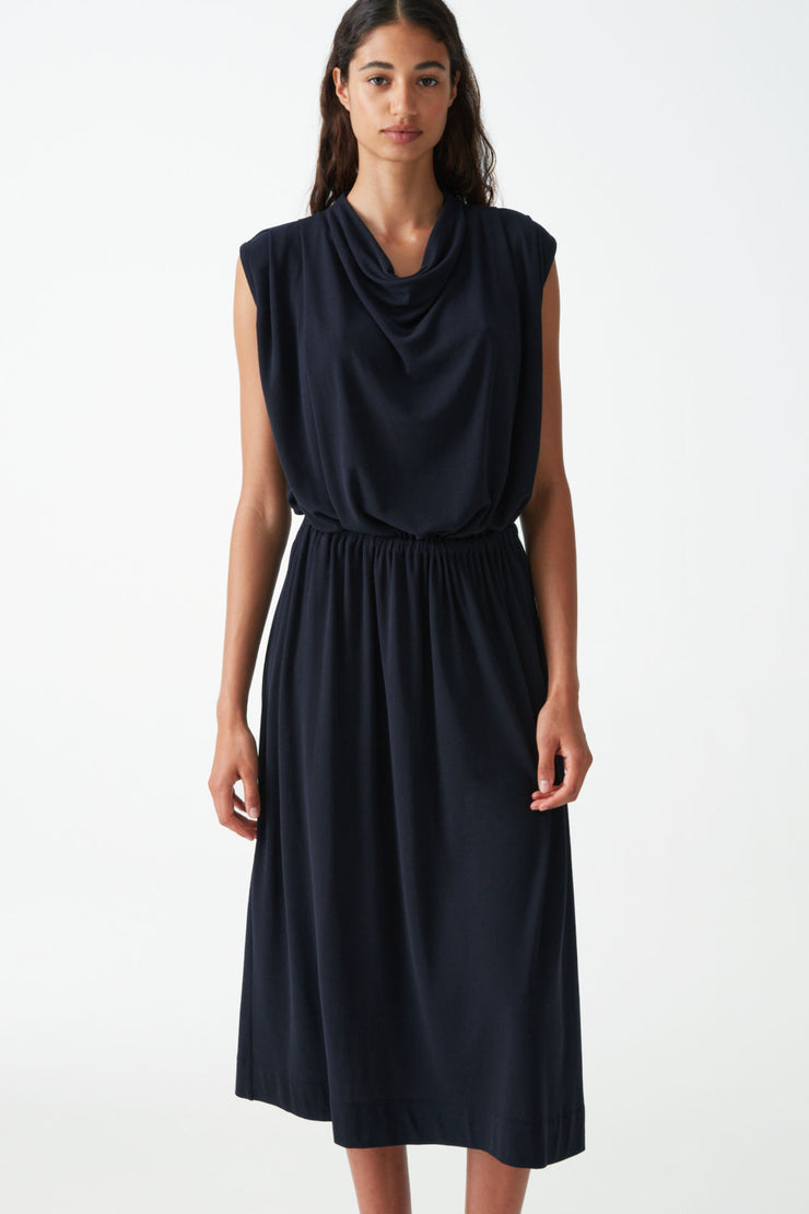 COWL NECK COTTON DRESS