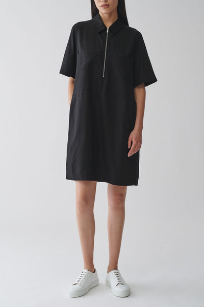 ZIP-UP COTTON CUPRO SHIRT DRESS
