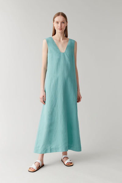 LYOCELL-LINEN LONG DRESS WITH SQUARE NECK
