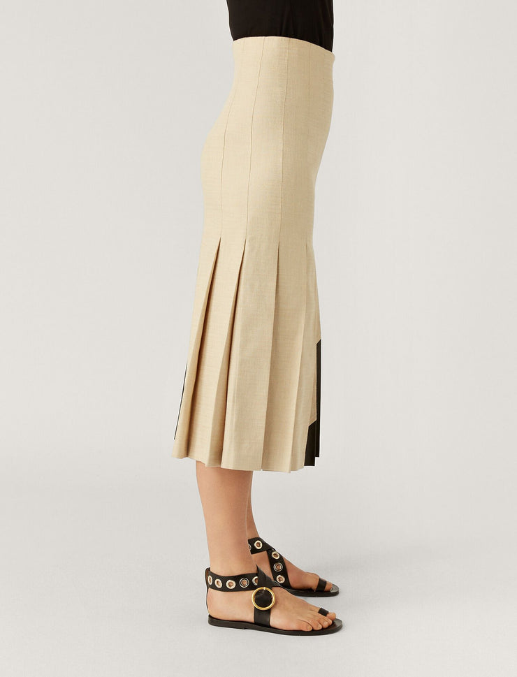 Saar Shantung Linen Leather Skirt