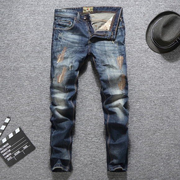 Men Jeans Slim Fit Long Pants Ripped Jeans High Quality Brand