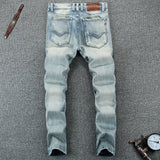 Summer Style Light Blue Color Fashion Mens Jeans High Quality Slim Fit Ripped Jeans For Men Buttons Pants Brand Biker Jeans Men