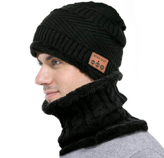 MZ026 Bluetooth hat bib plush knit hat