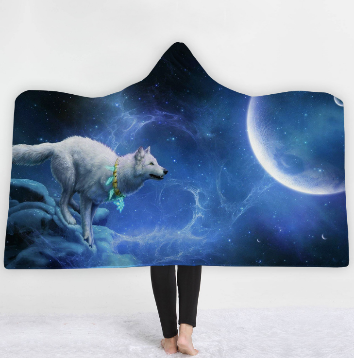 3D Digital Wolf Tiger or Stag Printed Hooded Blanket