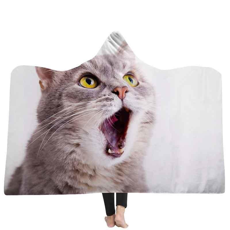 Cat or Dog 3D Digital Printed Hooded Blanket