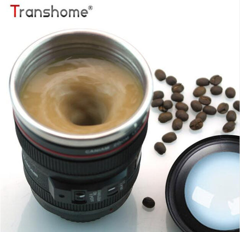 Transhome Creative Self Stirring Mug Camera Lens Mugs 300ml Battery Style Stainless Steel Milk Coffee Cups For Sporting Travel