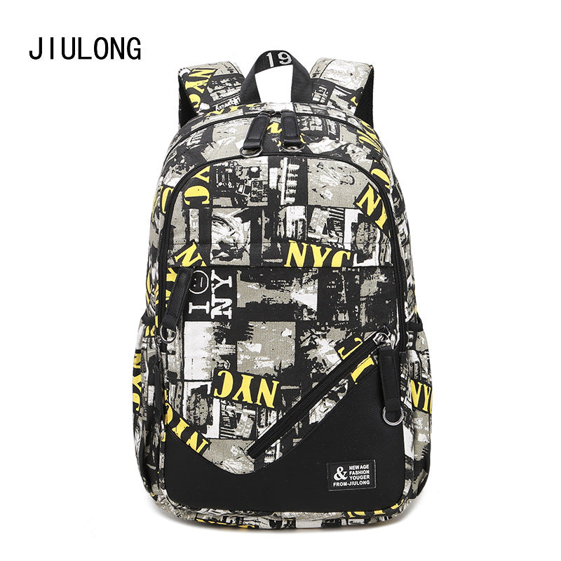 Wholesale, custom, new Korean fashion, leisure backpack, men's high-capacity junior high school schoolbag