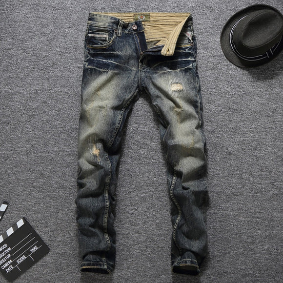 Men Jeans Vintage Retro Style Slim Fit Ripped Jeans Homme Balplein Brand Jeans Men Cotton Denim Biker