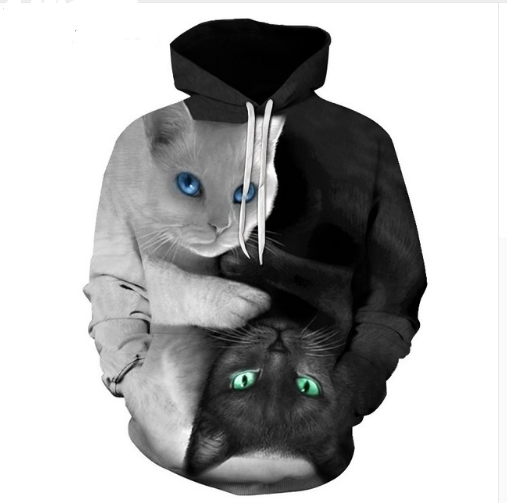 3D Printed Black and White Yin and Yang Cat Hoodie