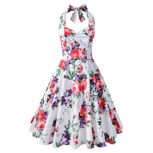 Vintage Printed Sexy Halter Slim Fit Dress