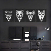 Black and White Fashion Mafia Hipster Animals Poster Prints Vintage Nordic Canvas Painting