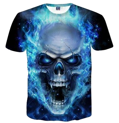 3D Blue Skull Flame T-Shirt