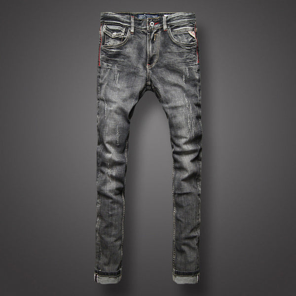 Men Jeans High Quality Italian Style Ripped Jeans