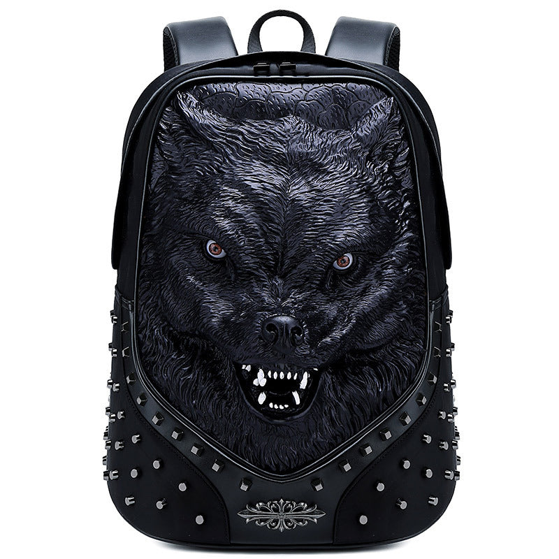 Travel backpack wolf head computer bag