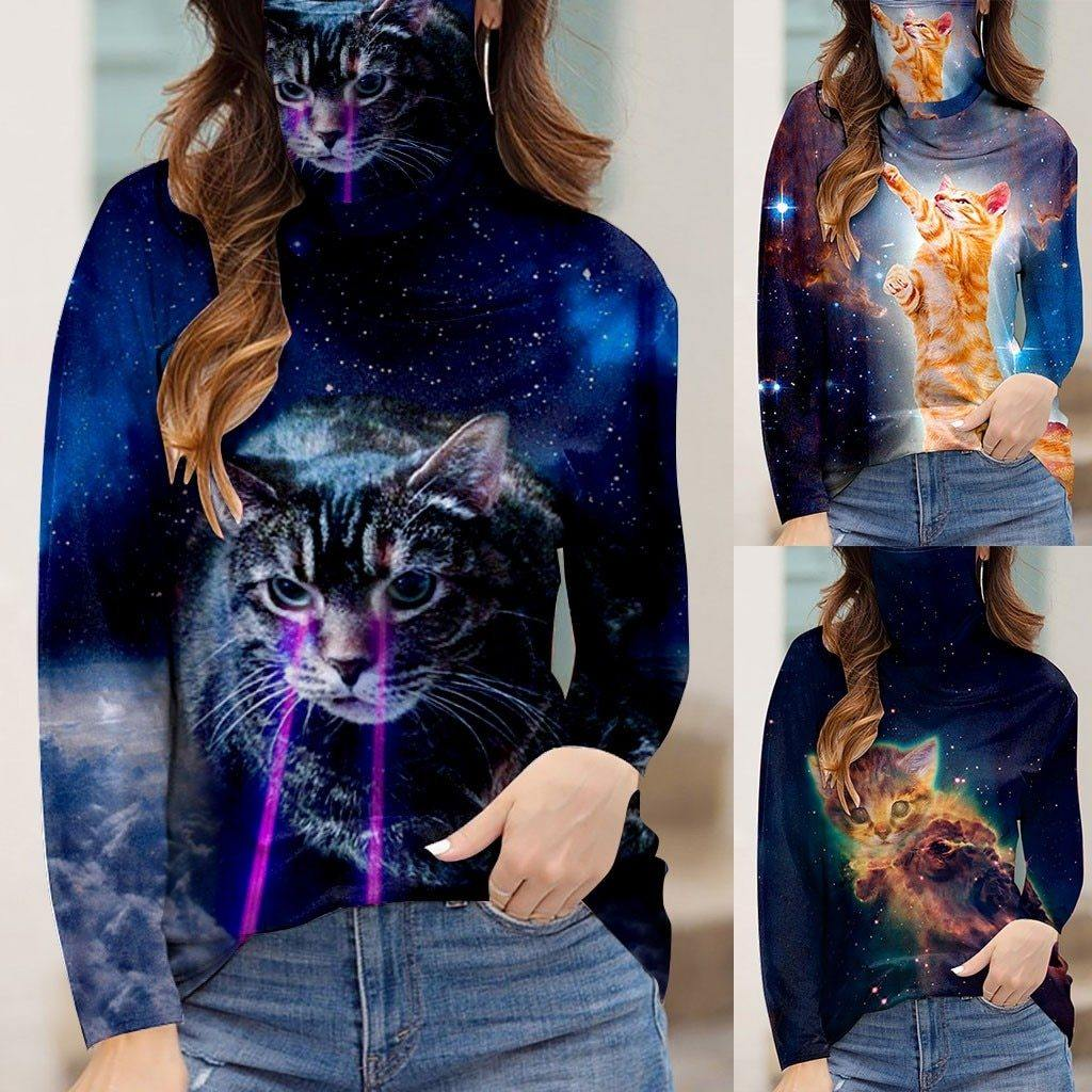 3D Cat Print Women's Casual Loose Turtleneck Long Sleeve Face Cover
