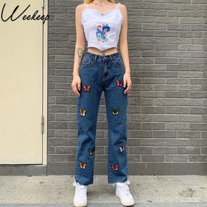 Butterfly Embroidery Women's Jeans High Waist Streetwear Jeans