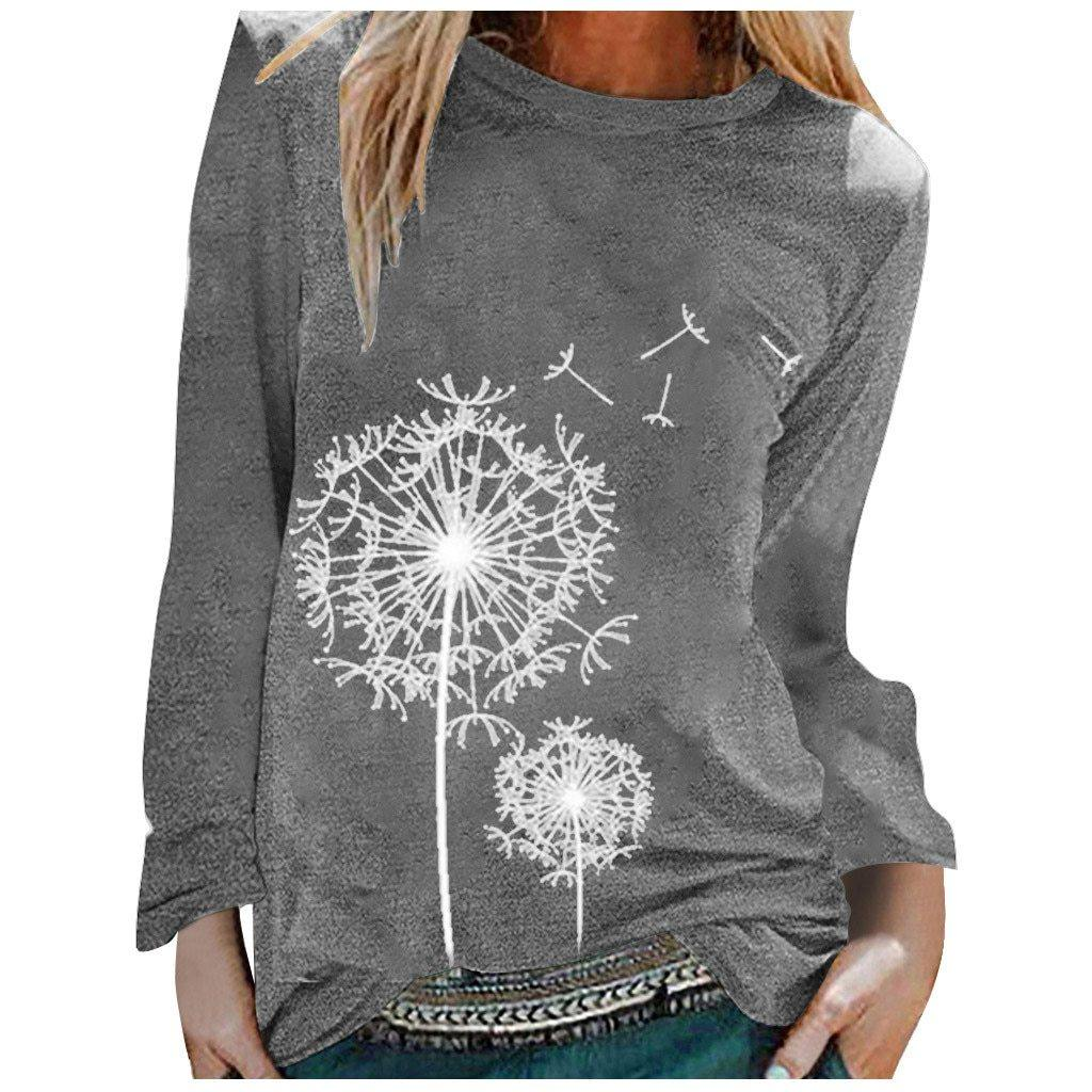 Dandelion Printed Long Casual Women Shirt