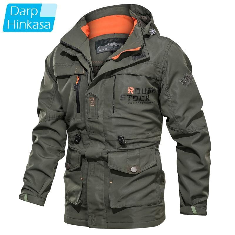 DARPHINKASA Men Winter Bomber Jacket Men Autumn Military Jacket Men Brand Tactical Jacket Men Military Windproof Waterproof Coat