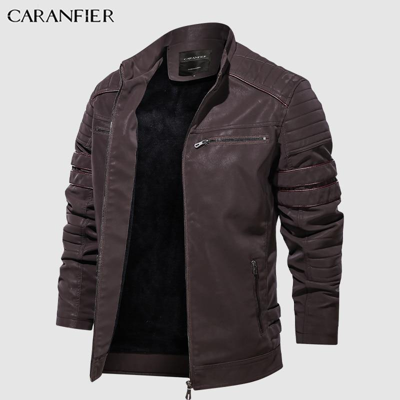CARANFIER Fashion Winter Men Stand Collar Motorcycle Washed Leather Jacket