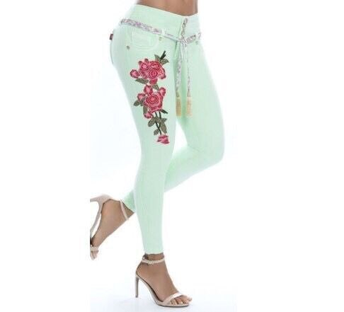 Hot Women's Skinny Jeans Tight Low Waist Embroidery Ultra Stretch New Autumn