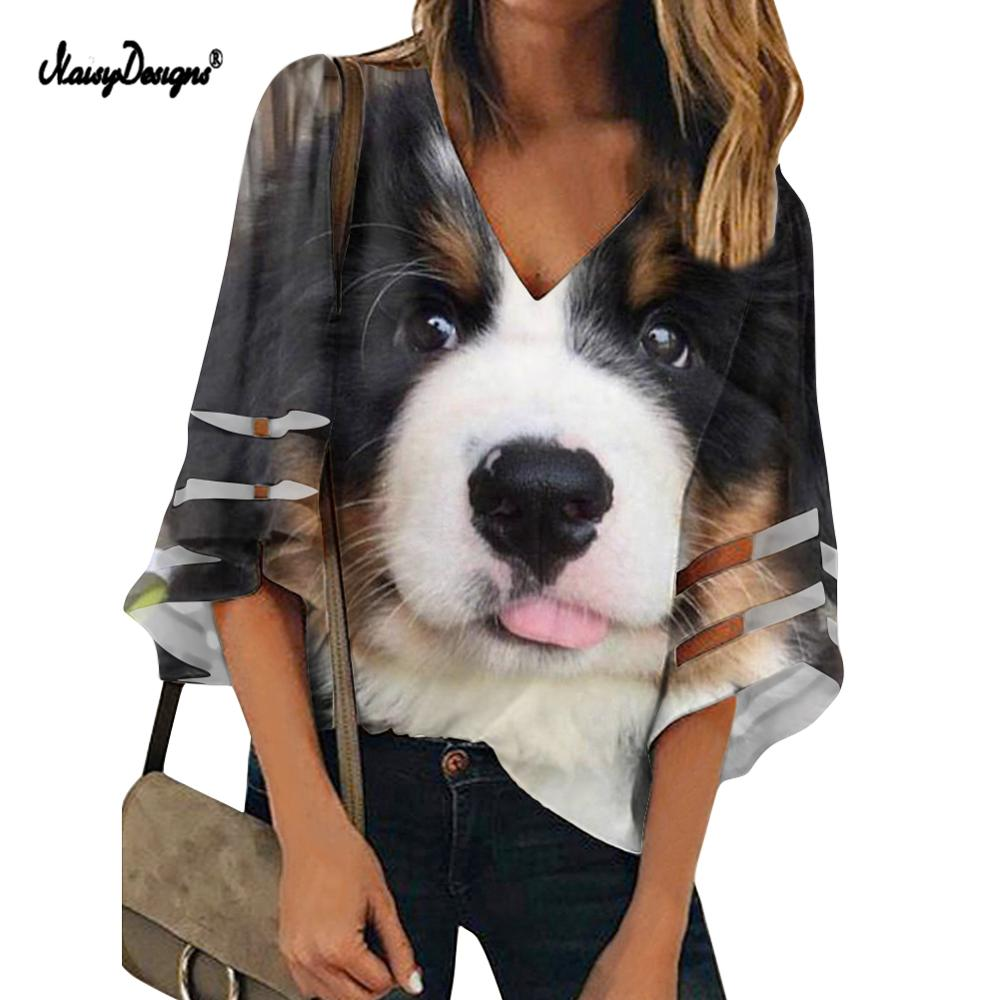 Funny Women Puppy Print Blouse Loose Sleeve Casual V-neck 3D Bernese Mountain Dog