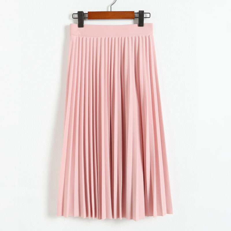 New Fashion Women's High Waist Pleated Solid Color Half Length Elastic Skirt